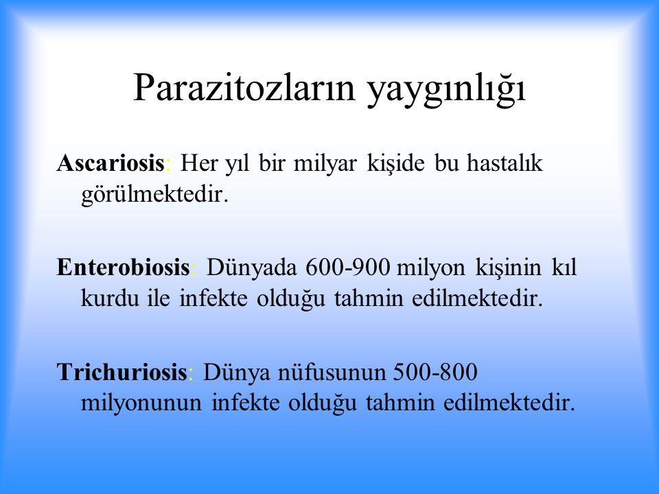Parazitozların yaygınlığı Ascariosis: Her yıl bir milyar kişide bu hastalık görülmektedir.