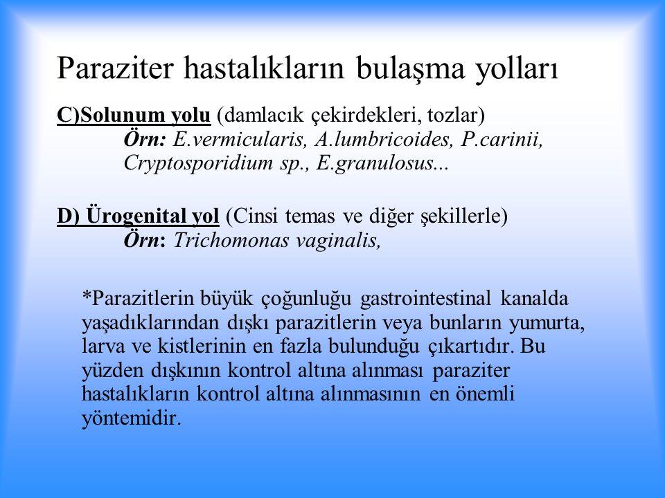 Paraziter hastalıkların bulaşma yolları C)Solunum yolu (damlacık çekirdekleri, tozlar) Örn: E.vermicularis, A.lumbricoides, P.carinii, Cryptosporidium sp., E.granulosus...