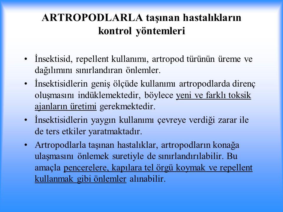 ARTROPODLARLA taşınan hastalıkların kontrol yöntemleri İnsektisid, repellent kullanımı, artropod türünün üreme ve dağılımını sınırlandıran önlemler.