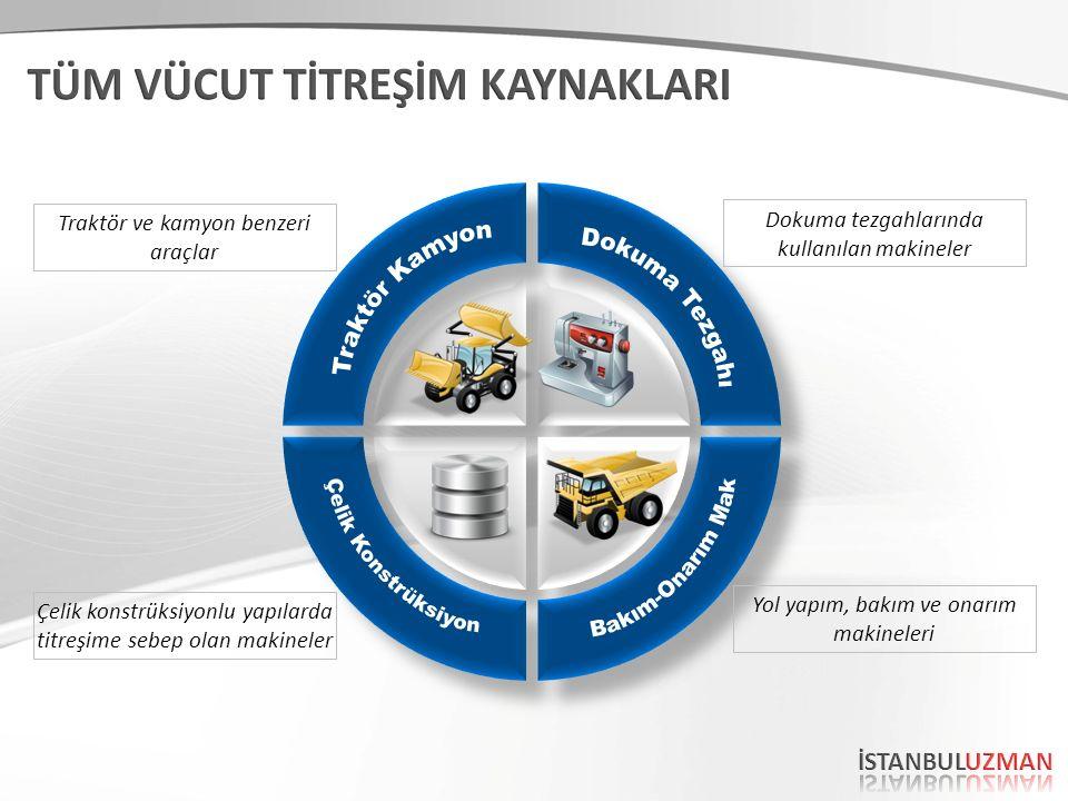 Dokuma tezgahlarında kullanılan makineler Yol yapım, bakım ve onarım makineleri Traktör ve kamyon benzeri araçlar Çelik konstrüksiyonlu yapılarda titr