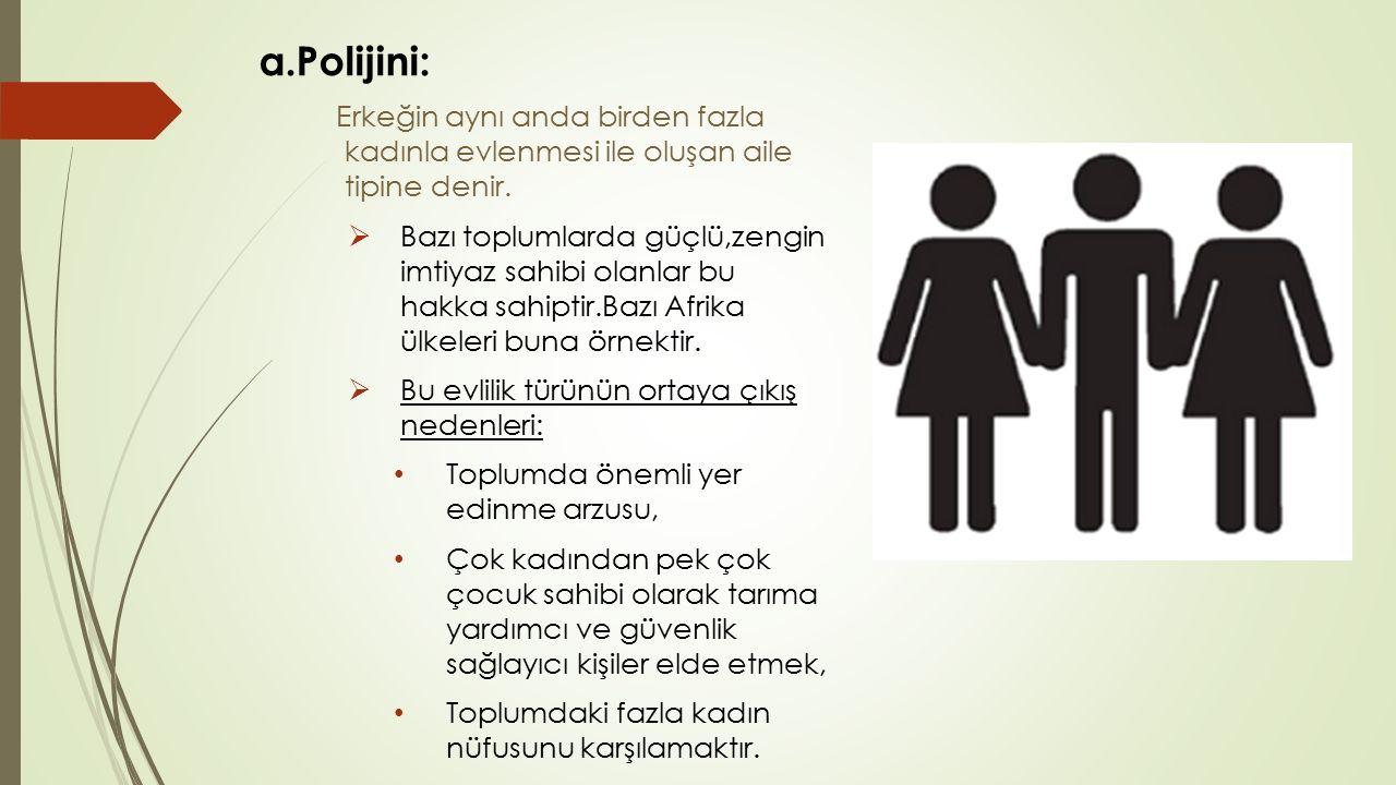 a.Polijini: Erkeğin aynı anda birden fazla kadınla evlenmesi ile oluşan aile tipine denir.  Bazı toplumlarda güçlü,zengin imtiyaz sahibi olanlar bu h