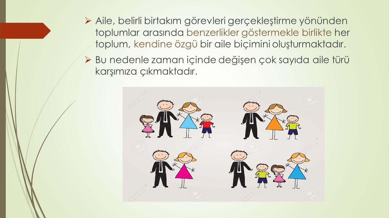  Aile, belirli birtakım görevleri gerçekleştirme yönünden toplumlar arasında benzerlikler göstermekle birlikte her toplum, kendine özgü bir aile biçi
