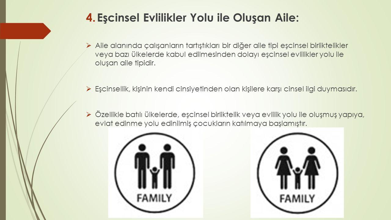 4.Eşcinsel Evlilikler Yolu ile Oluşan Aile:  Aile alanında çalışanların tartıştıkları bir diğer aile tipi eşcinsel birliktelikler veya bazı ülkelerde