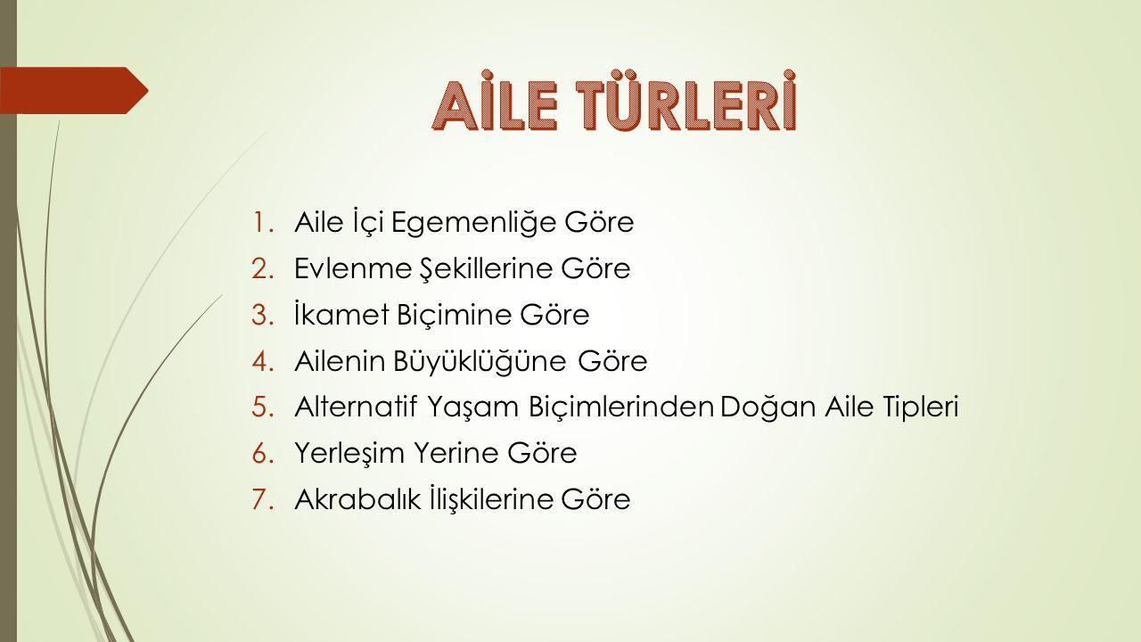 TÜRK TOPLUMUNDA AİLE  İslamiyet Öncesi Türk Ailesi  İslamiyet Etkisindeki Türk Ailesi  Osmanlı'da Aile  Cumhuriyet Döneminde Aile
