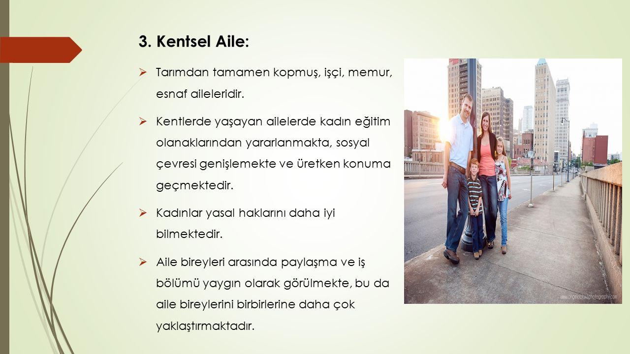 3. Kentsel Aile:  Tarımdan tamamen kopmuş, işçi, memur, esnaf aileleridir.  Kentlerde yaşayan ailelerde kadın eğitim olanaklarından yararlanmakta, s