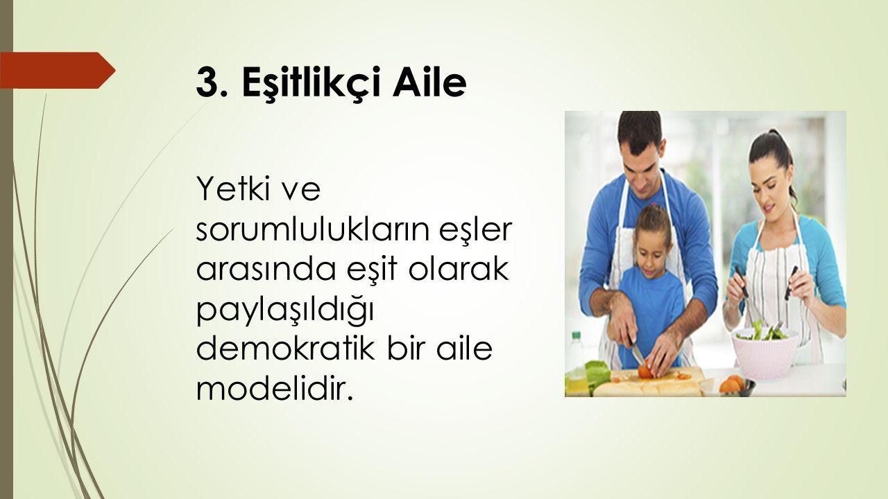 3. Eşitlikçi Aile Yetki ve sorumlulukların eşler arasında eşit olarak paylaşıldığı demokratik bir aile modelidir.