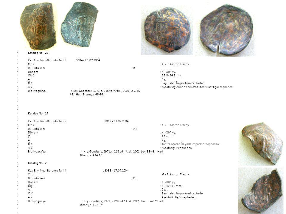 Katalog No.: 26 Kazı Env.No. - Buluntu Tarihi: S004 - 20.07.2004 Cins: Æ - B.