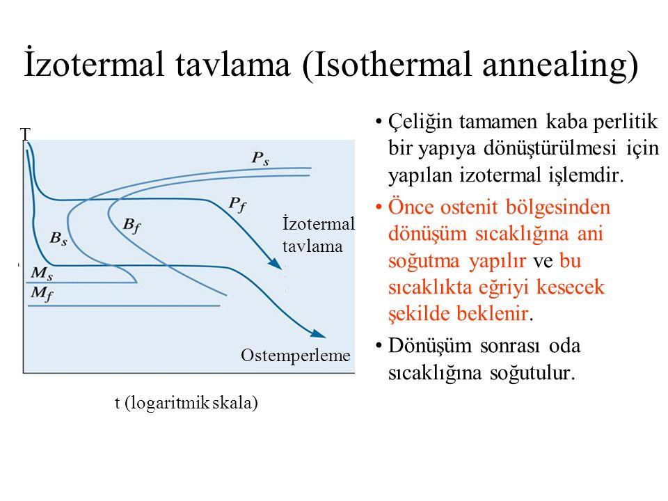 İzotermal tavlama (Isothermal annealing) t (logaritmik skala) Ostemperleme İzotermal tavlama T Çeliğin tamamen kaba perlitik bir yapıya dönüştürülmesi için yapılan izotermal işlemdir.
