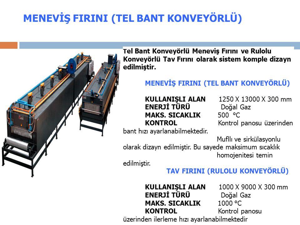MENEVİŞ FIRINI (TEL BANT KONVEYÖRLÜ) T el Bant Konveyörlü Meneviş Fırını ve Rulolu Konveyörlü Tav Fırını olarak sistem komple dizayn edilmiştir.
