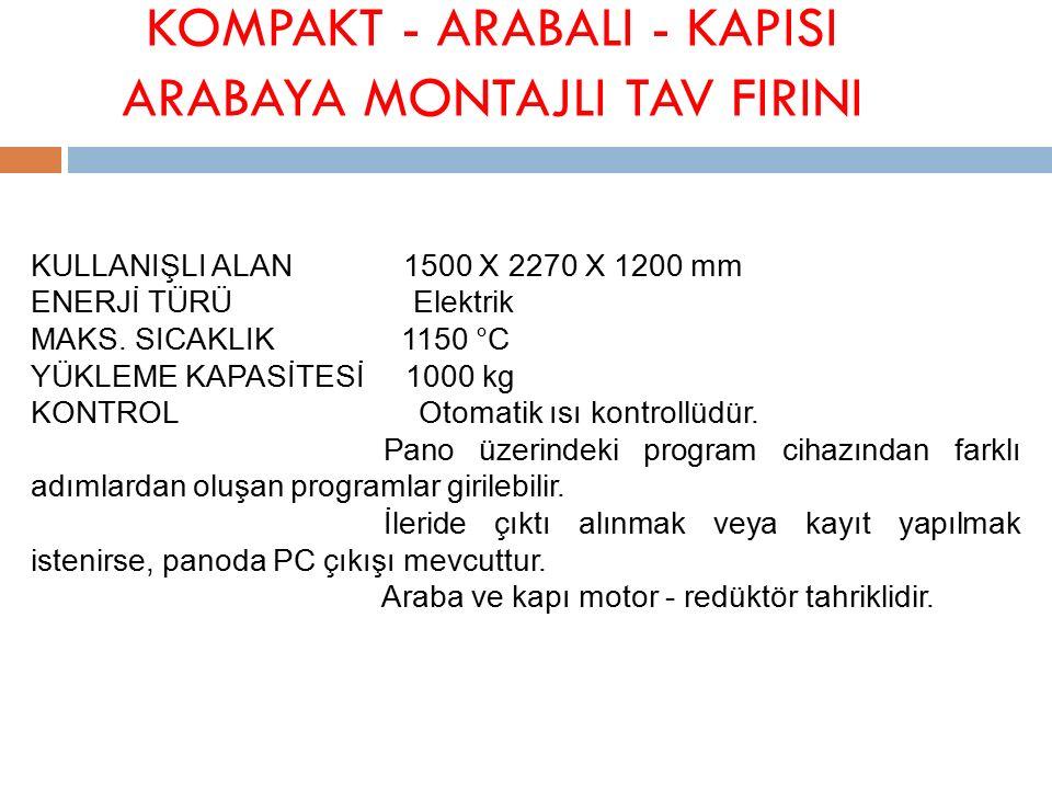 KOMPAKT - ARABALI - KAPISI ARABAYA MONTAJLI TAV FIRINI KULLANIŞLI ALAN 1500 X 2270 X 1200 mm ENERJİ TÜRÜ Elektrik MAKS.