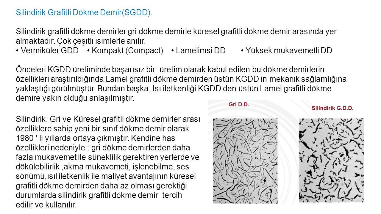 Silindirik Grafitli Dökme Demir(SGDD): Silindirik grafitli dökme demirler gri dökme demirle küresel grafitli dökme demir arasında yer almaktadır. Çok