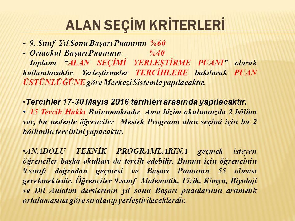 ALAN SEÇİM KRİTERLERİ - 9.