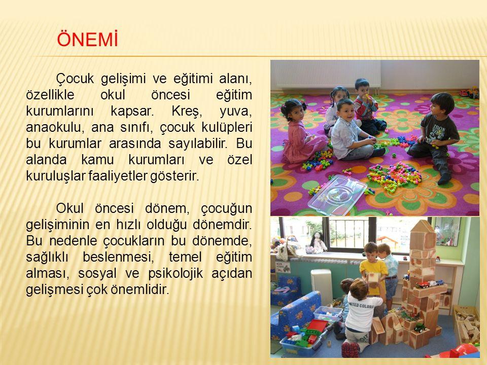 ÖNEMİ Çocuk gelişimi ve eğitimi alanı, özellikle okul öncesi eğitim kurumlarını kapsar.