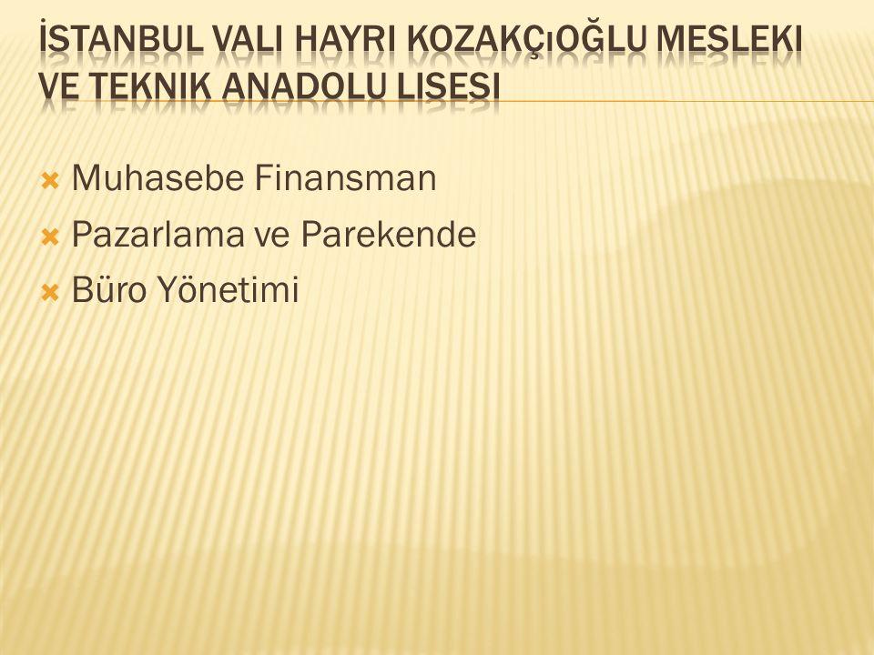  Muhasebe Finansman  Pazarlama ve Parekende  Büro Yönetimi