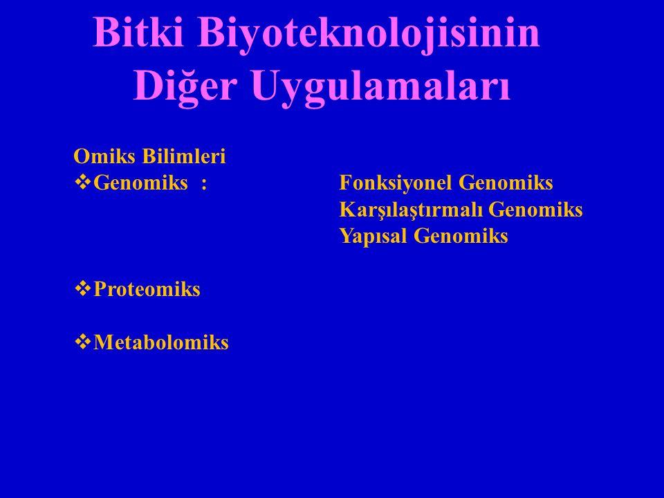 Bitki Biyoteknolojisinin Diğer Uygulamaları Omiks Bilimleri  Genomiks : Fonksiyonel Genomiks Karşılaştırmalı Genomiks Yapısal Genomiks  Proteomiks  Metabolomiks
