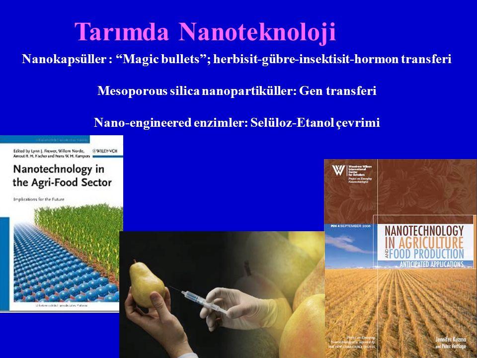 Tarımda Nanoteknoloji Nanokapsüller : Magic bullets ; herbisit-gübre-insektisit-hormon transferi Mesoporous silica nanopartiküller: Gen transferi Nano-engineered enzimler: Selüloz-Etanol çevrimi
