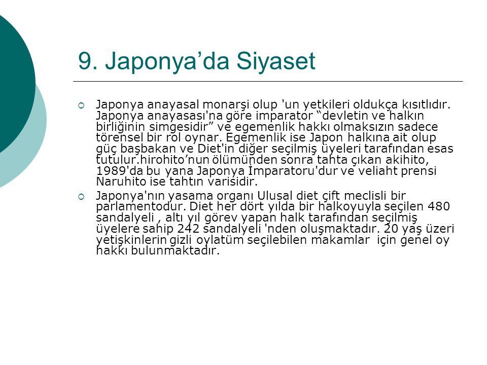 9.Japonya'da Siyaset  Japonya anayasal monarşi olup un yetkileri oldukça kısıtlıdır.