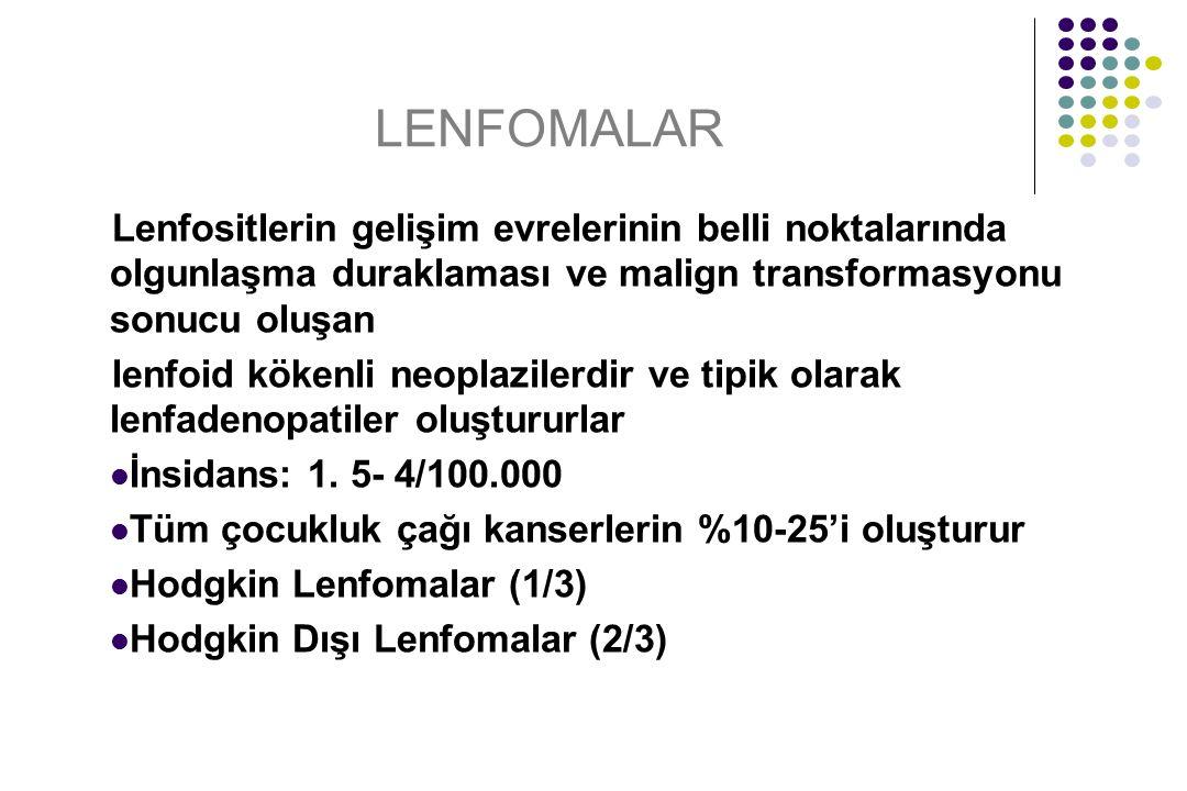 LENFOMALAR Lenfositlerin gelişim evrelerinin belli noktalarında olgunlaşma duraklaması ve malign transformasyonu sonucu oluşan lenfoid kökenli neoplaz