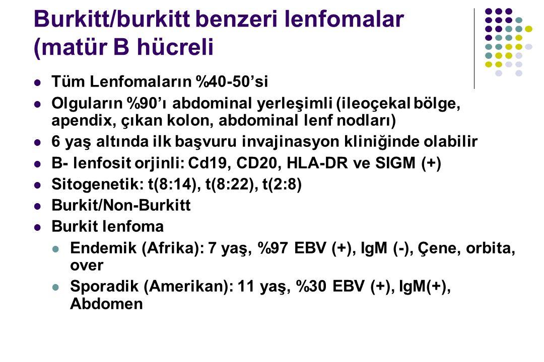 Burkitt/burkitt benzeri lenfomalar (matür B hücreli Tüm Lenfomaların %40-50'si Olguların %90'ı abdominal yerleşimli (ileoçekal bölge, apendix, çıkan k