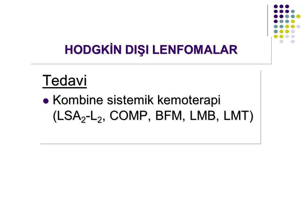 Tedavi Kombine sistemik kemoterapi (LSA 2 -L 2, COMP, BFM, LMB, LMT) Kombine sistemik kemoterapi (LSA 2 -L 2, COMP, BFM, LMB, LMT)Tedavi HODGKİN DIŞI