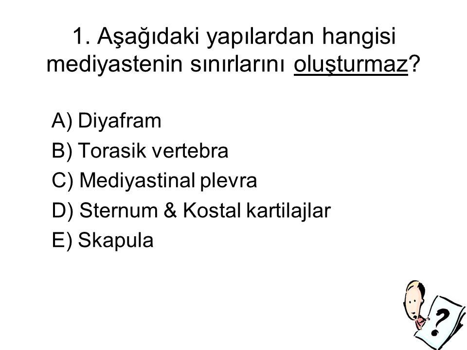 1. Aşağıdaki yapılardan hangisi mediyastenin sınırlarını oluşturmaz.