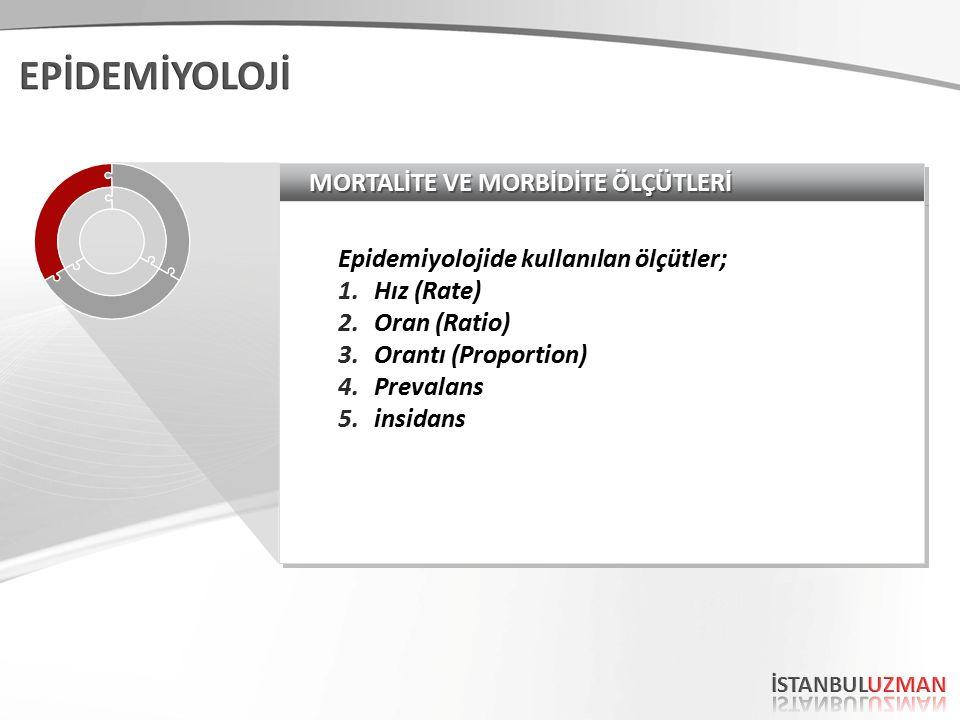 MORTALİTE VE MORBİDİTE ÖLÇÜTLERİ Epidemiyolojide kullanılan ölçütler; 1.Hız (Rate) 2.Oran (Ratio) 3.Orantı (Proportion) 4.Prevalans 5.insidans Epidemi