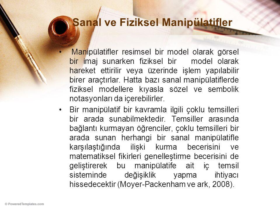 Manipülatifler resimsel bir model olarak görsel bir imaj sunarken fiziksel bir model olarak hareket ettirilir veya üzerinde işlem yapılabilir birer ar