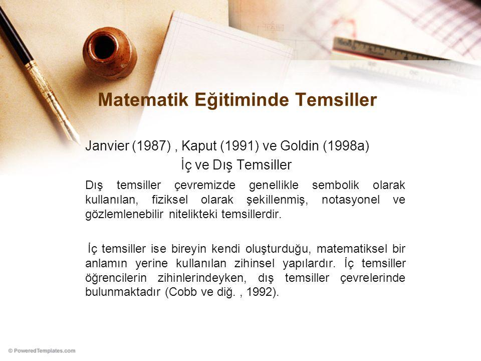 Matematik Eğitiminde Temsiller Janvier (1987), Kaput (1991) ve Goldin (1998a) İç ve Dış Temsiller Dış temsiller çevremizde genellikle sembolik olarak