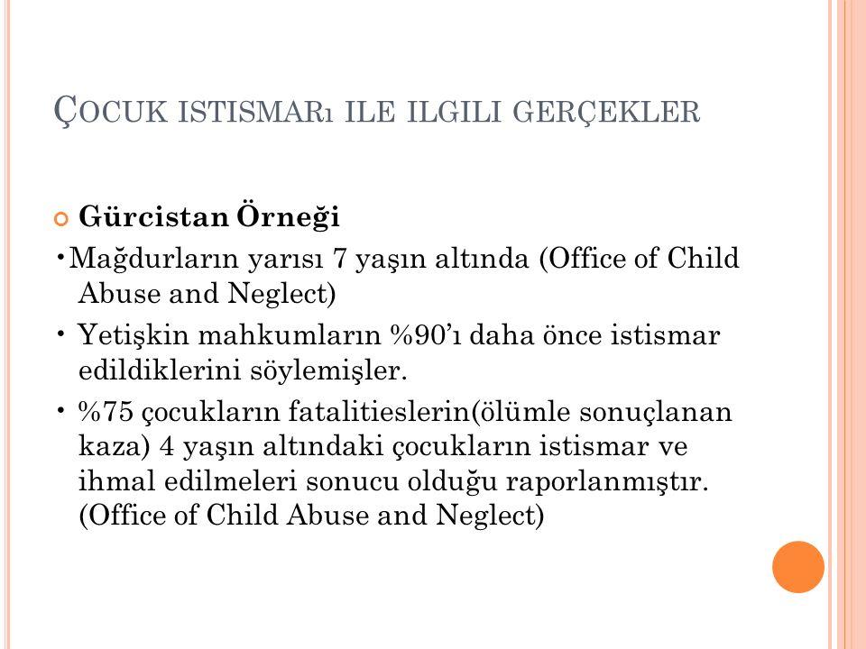 Ç OCUK ISTISMARı ILE ILGILI GERÇEKLER Gürcistan Örneği Mağdurların yarısı 7 yaşın altında (Office of Child Abuse and Neglect) Yetişkin mahkumların %90