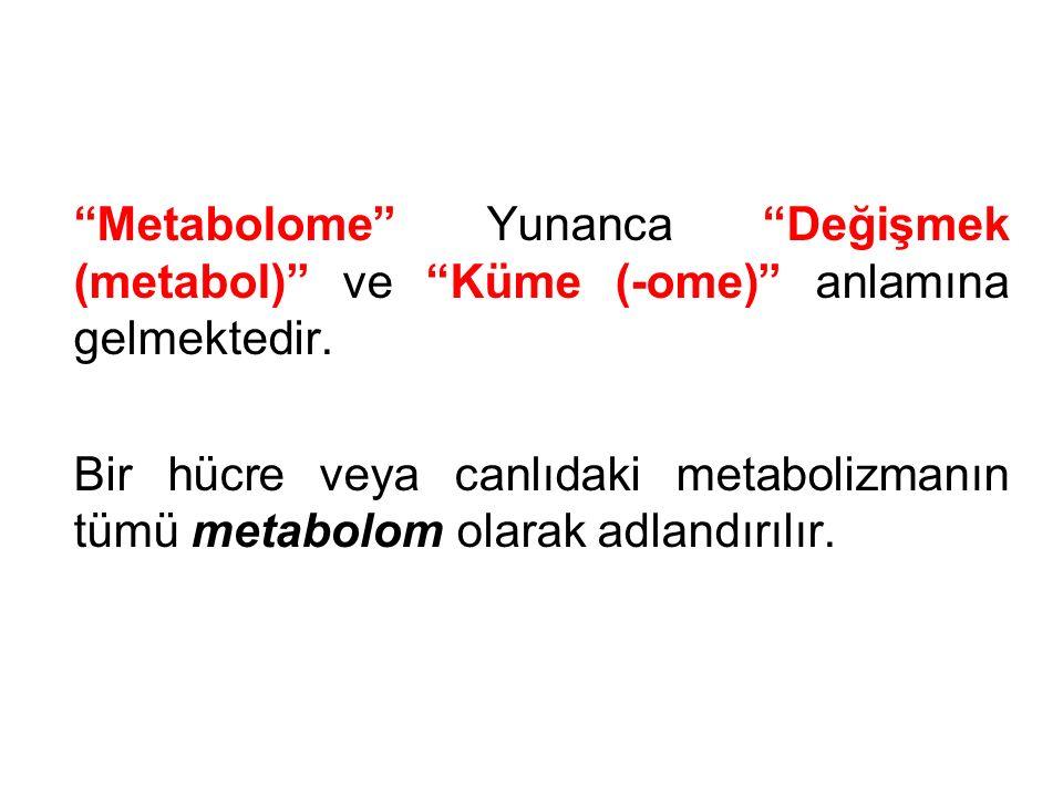 """""""Metabolome"""" Yunanca """"Değişmek (metabol)"""" ve """"Küme (-ome)"""" anlamına gelmektedir. Bir hücre veya canlıdaki metabolizmanın tümü metabolom olarak adlandı"""