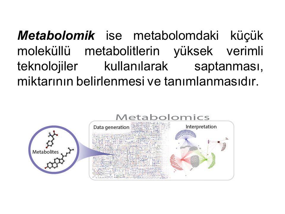 Metabolomik ise metabolomdaki küçük moleküllü metabolitlerin yüksek verimli teknolojiler kullanılarak saptanması, miktarının belirlenmesi ve tanımlanm