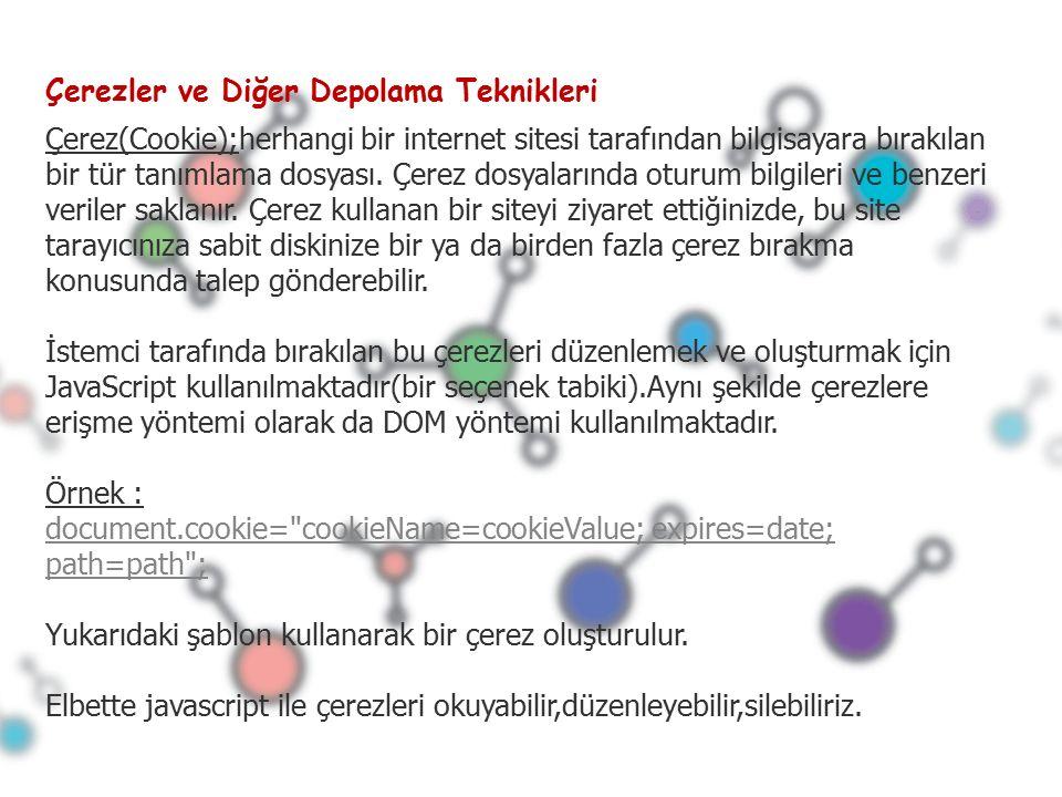 Çerezler ve Diğer Depolama Teknikleri Çerez(Cookie);herhangi bir internet sitesi tarafından bilgisayara bırakılan bir tür tanımlama dosyası.