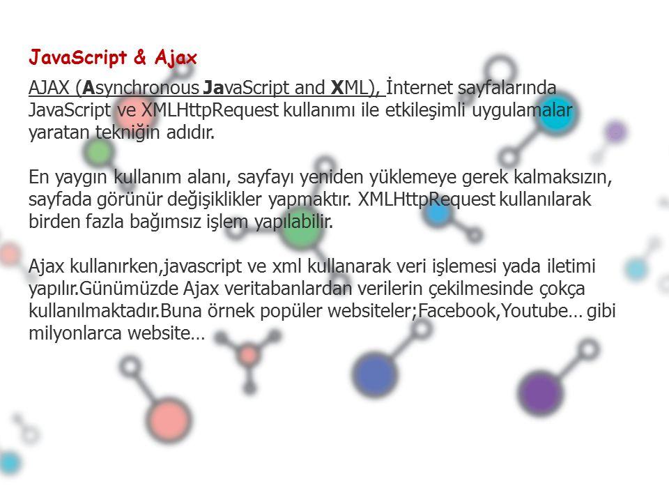 JavaScript & Ajax AJAX (Asynchronous JavaScript and XML), İnternet sayfalarında JavaScript ve XMLHttpRequest kullanımı ile etkileşimli uygulamalar yaratan tekniğin adıdır.