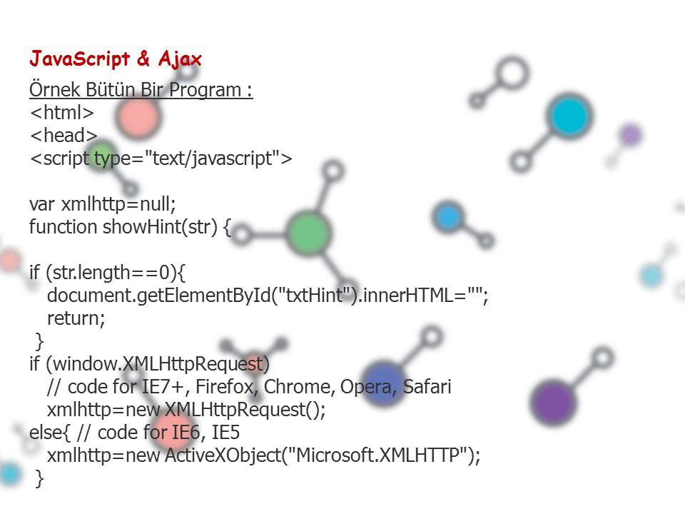 JavaScript & Ajax Örnek Bütün Bir Program : var xmlhttp=null; function showHint(str) { if (str.length==0){ document.getElementById( txtHint ).innerHTML= ; return; } if (window.XMLHttpRequest) // code for IE7+, Firefox, Chrome, Opera, Safari xmlhttp=new XMLHttpRequest(); else{ // code for IE6, IE5 xmlhttp=new ActiveXObject( Microsoft.XMLHTTP ); }