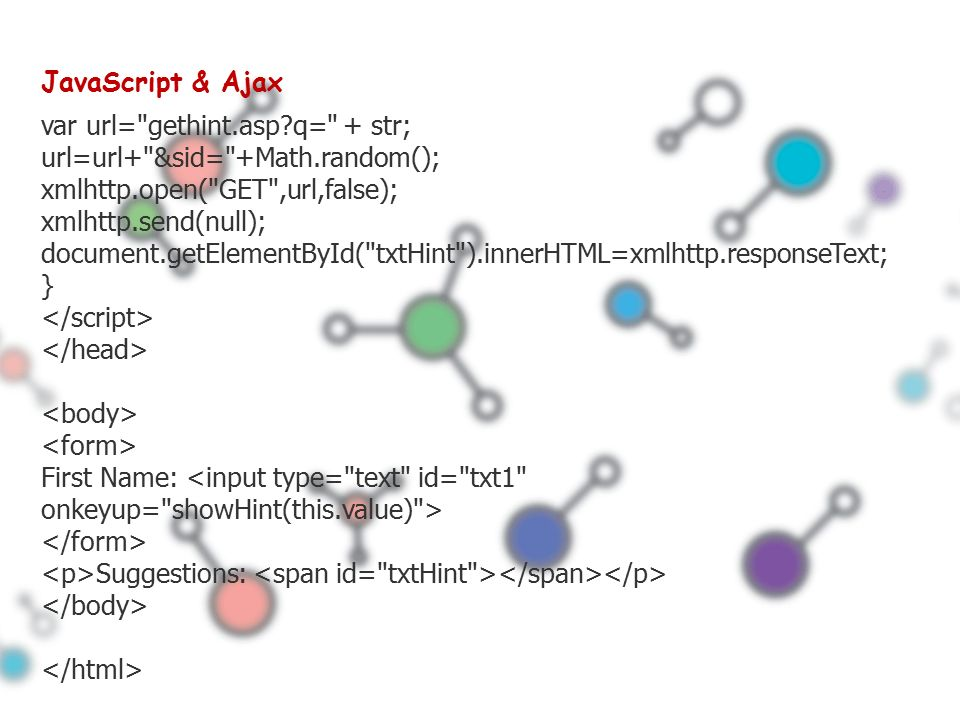 JavaScript & Ajax var url= gethint.asp q= + str; url=url+ &sid= +Math.random(); xmlhttp.open( GET ,url,false); xmlhttp.send(null); document.getElementById( txtHint ).innerHTML=xmlhttp.responseText; } First Name: Suggestions: