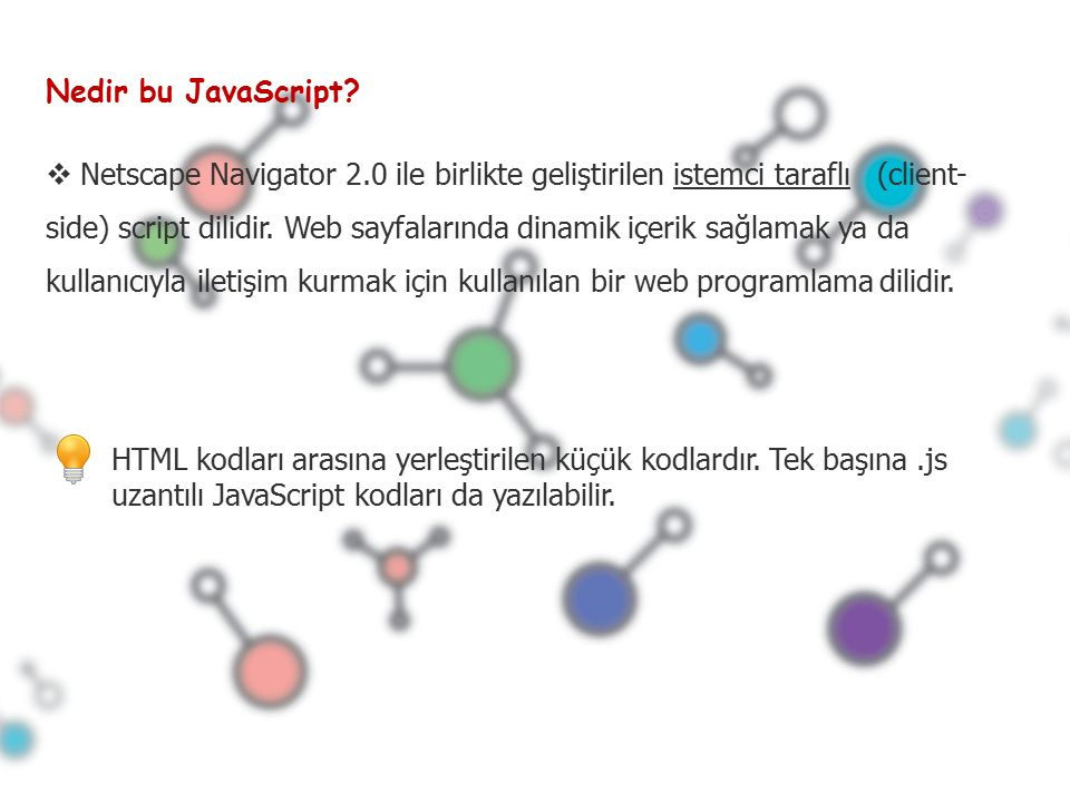  Netscape Navigator 2.0 ile birlikte geliştirilen istemci taraflı (client- side) script dilidir.