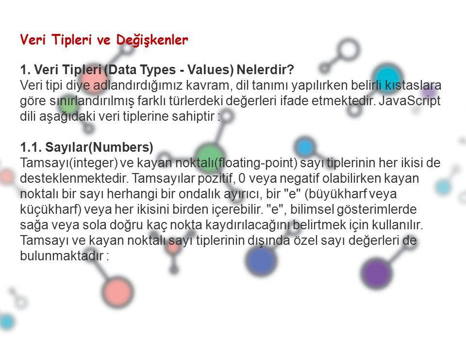 JavaScript Objeleri JavaScript de objeler new keywordü kullanarak oluşturulur.Primitive Data Type olarak string,boolean,number,date,math sınıflarını içermektedir.