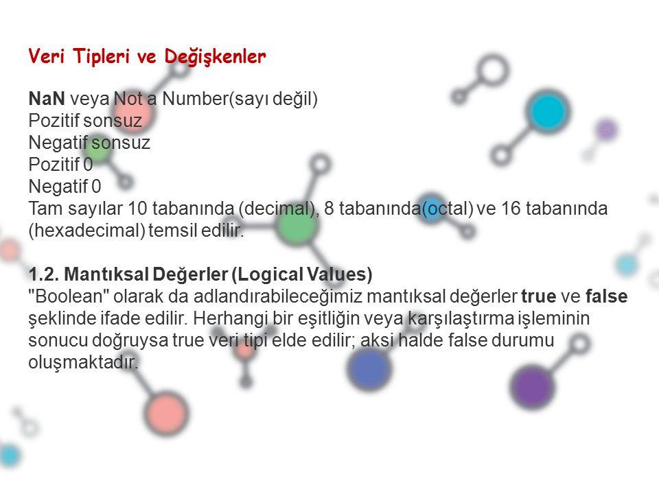 NaN veya Not a Number(sayı değil) Pozitif sonsuz Negatif sonsuz Pozitif 0 Negatif 0 Tam sayılar 10 tabanında (decimal), 8 tabanında(octal) ve 16 tabanında (hexadecimal) temsil edilir.