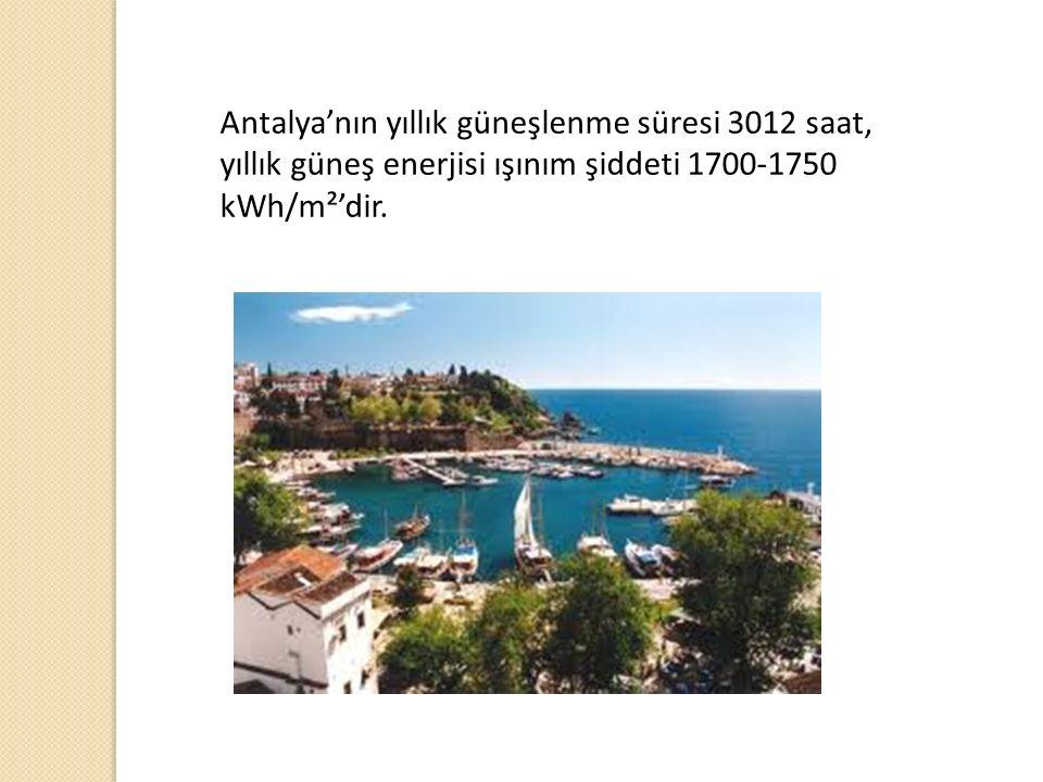 Antalya'nın yıllık güneşlenme süresi 3012 saat, yıllık güneş enerjisi ışınım şiddeti 1700-1750 kWh/m²'dir.