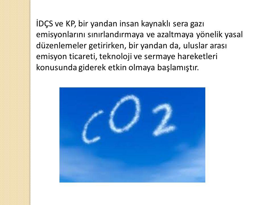 İDÇS ve KP, bir yandan insan kaynaklı sera gazı emisyonlarını sınırlandırmaya ve azaltmaya yönelik yasal düzenlemeler getirirken, bir yandan da, uluslar arası emisyon ticareti, teknoloji ve sermaye hareketleri konusunda giderek etkin olmaya başlamıştır.