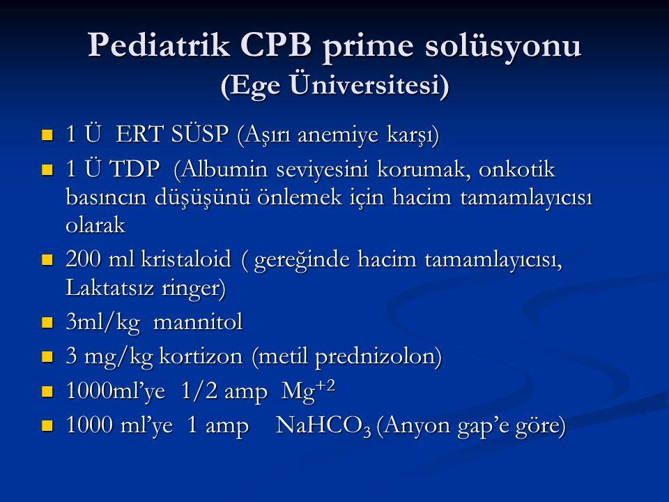 Pediatrik CPB prime solüsyonu (Ege Üniversitesi) 1 Ü ERT SÜSP (Aşırı anemiye karşı) 1 Ü ERT SÜSP (Aşırı anemiye karşı) 1 Ü TDP (Albumin seviyesini korumak, onkotik basıncın düşüşünü önlemek için hacim tamamlayıcısı olarak 1 Ü TDP (Albumin seviyesini korumak, onkotik basıncın düşüşünü önlemek için hacim tamamlayıcısı olarak 200 ml kristaloid ( gereğinde hacim tamamlayıcısı, Laktatsız ringer) 200 ml kristaloid ( gereğinde hacim tamamlayıcısı, Laktatsız ringer) 3ml/kg mannitol 3ml/kg mannitol 3 mg/kg kortizon (metil prednizolon) 3 mg/kg kortizon (metil prednizolon) 1000ml'ye 1/2 amp Mg +2 1000ml'ye 1/2 amp Mg +2 1000 ml'ye 1 amp NaHCO 3 (Anyon gap'e göre) 1000 ml'ye 1 amp NaHCO 3 (Anyon gap'e göre)