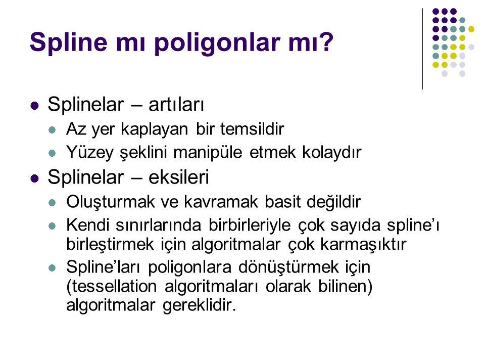 Spline mı poligonlar mı? Splinelar – artıları Az yer kaplayan bir temsildir Yüzey şeklini manipüle etmek kolaydır Splinelar – eksileri Oluşturmak ve k