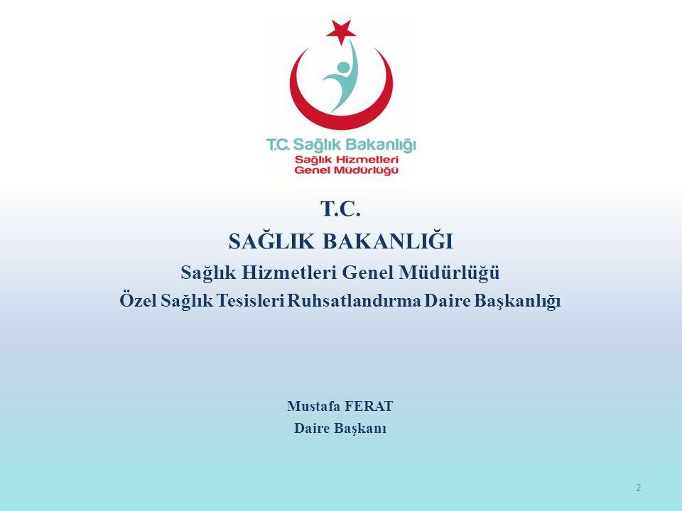 T.C. SAĞLIK BAKANLIĞI Sağlık Hizmetleri Genel Müdürlüğü Özel Sağlık Tesisleri Ruhsatlandırma Daire Başkanlığı Mustafa FERAT Daire Başkanı 2