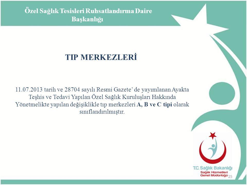 TIP MERKEZLERİ 11.07.2013 tarih ve 28704 sayılı Resmi Gazete' de yayımlanan Ayakta Teşhis ve Tedavi Yapılan Özel Sağlık Kuruluşları Hakkında Yönetmeli
