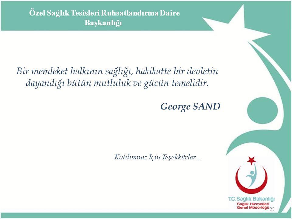Bir memleket halkının sağlığı, hakikatte bir devletin dayandığı bütün mutluluk ve gücün temelidir. George SAND 35 Katılımınız İçin Teşekkürler… Özel S