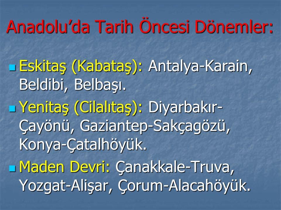 Anadolu'da Tarih Öncesi Dönemler: Eskitaş (Kabataş): Antalya-Karain, Beldibi, Belbaşı.