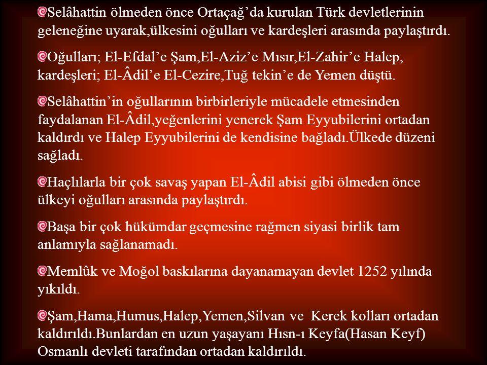Selâhattin ölmeden önce Ortaçağ'da kurulan Türk devletlerinin geleneğine uyarak,ülkesini oğulları ve kardeşleri arasında paylaştırdı. Oğulları; El-Efd