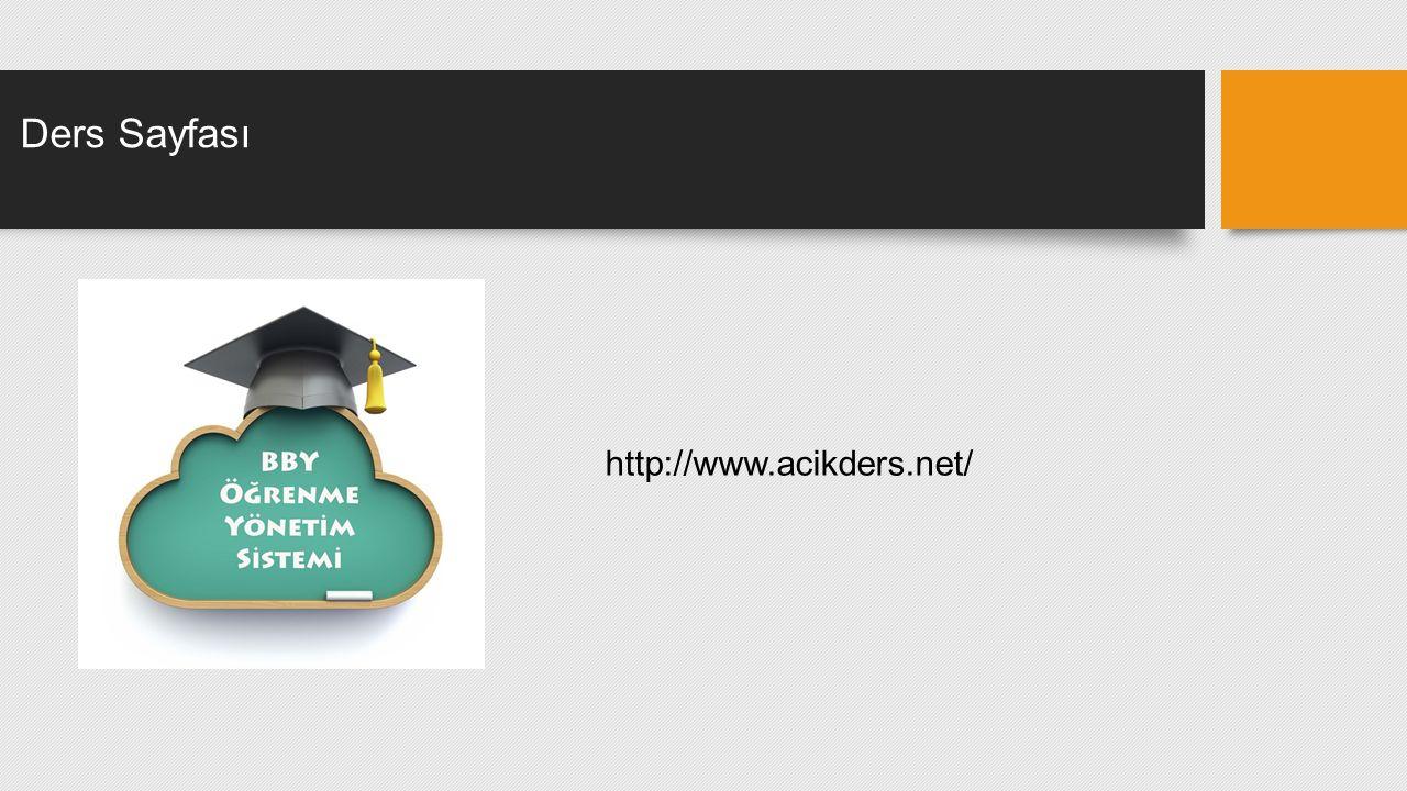 Ders Sayfası http://www.acikders.net/