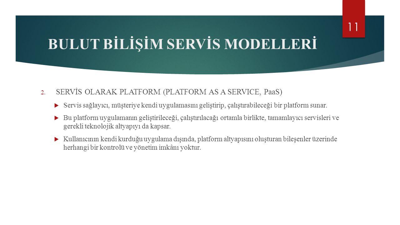 BULUT BİLİŞİM SERVİS MODELLERİ 2.