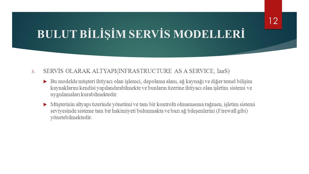 BULUT BİLİŞİM SERVİS MODELLERİ 3.